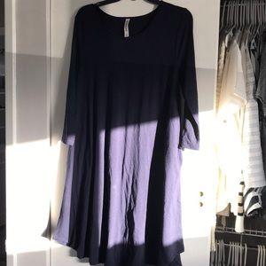 Navy blue long sleeve swing dress